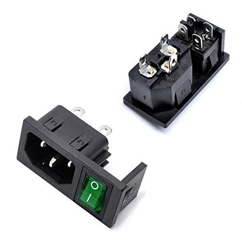 Willwin IEC320 C14-Steckverbinder, Einlassmodul, Sicherungsschalter, Steckdose mit Schalter, Wechselstrom, 250 V, 10 A, 5 Stück grün