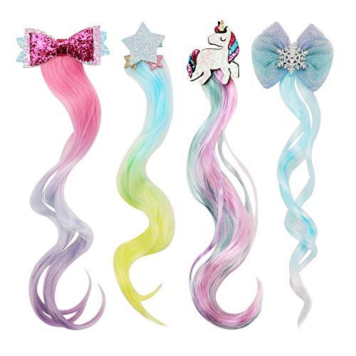 HIFOT 4PCS Locken Haarverlängerung Clips, Einhorn Bogen Prinzessin Haarspangen Mädchen Haarschmuck, Bunte Haarteile Synthese Party Ankleiden
