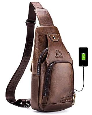 LAOSHIZI Men Genuine Leather Sling Bag with USB Charging Port Travel Crossbody Chest Bag Hiking Daypack (Brown)