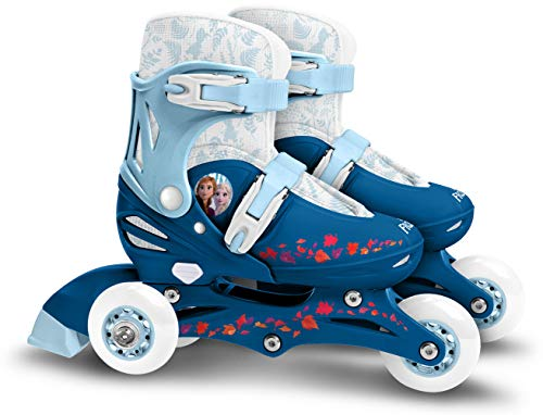 Stamp Sas- Frozen II Adjustable Two in One 3 Wheels Skate, Color Azul, Sizes 27-30 (RN244301)