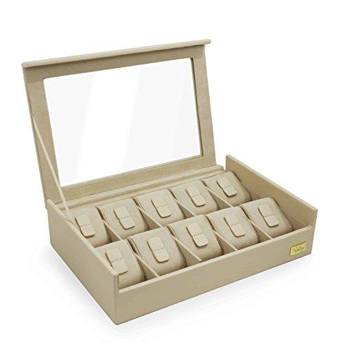 CORDAYS - Uhren Box für 10 Uhren mit Glasvitrine. Handgefertigt – Premium Qualität – Unisex. Farbe Sanb-  CDL-10005
