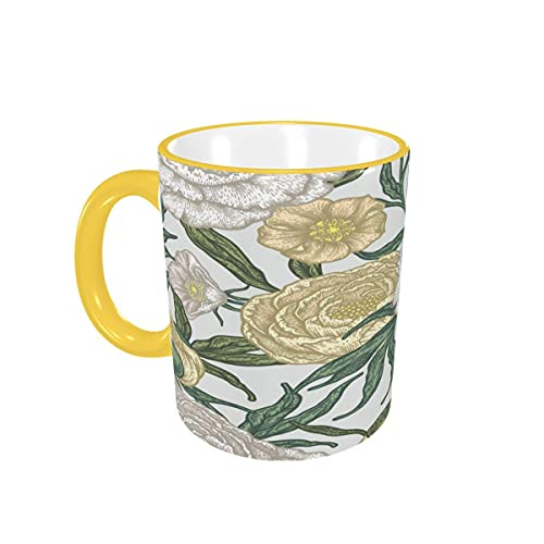 Taza de café Pretty Peony Flowers Tazas de café Florales Tazas de cerámica con Asas para Bebidas Calientes - Cappuccino, Latte, Tea, Coffee Gifts 12 oz Sky Blue