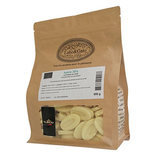 Valrhona - Ivoire 35% chocolat blanc de couverture Création Gourmande fèves 500 g