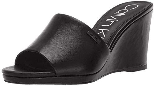 Calvin Klein Women's Britta Wedge Sandal, Black Nappa, 10 M US