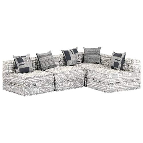 vidaXL Sofa Bed 4-Seater Modular Sofa with Sleep Function Guest Bed Sofa Bed Sofa Bed Upholstered Sofa Lounge Sofa Corner Sofa Corner Sofa Grey Fabric