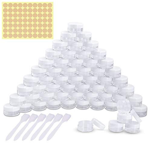 60 Piezas Tarros de Plástico, Contenedores Cosmético de Viaje Envases de Vacío Transparente con Tapas de Tornillo para Cosmética Crema Muestra, Polvo, Decoración de Uñas, 5g 5ml Blanco