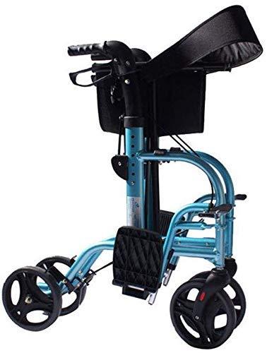 LNNZPL 2 in 1 Rollator Laufgestell mit Fußstützen aus Aluminium for senioren Walker Folding Übertragung Rollstuhl fg Sicherer und langlebiger Klappstuhl, Strandkorb, P