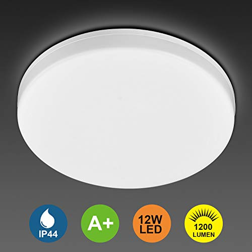 12W Waterproof LED Ceiling Light IP44 Super Bright 950LM 4000k Equivalent to 100W Incandescent Lamp LED Ceiling Lamp Ceiling Light Cold White Ideal for Living Room, Kitchen, Balcony, Bathroom