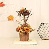 Rexinte Artificial Sunflower with Ceramic Vase, Fall Fake Pumpkin Fall Flower Centerpiece Tabletop Tabletop Autumn Harvest Floral Decoration Thanksgiving Festive Home Decor Ornaments