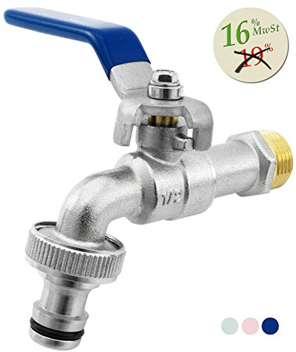 SHYNE Premium 1/2 Zoll Wasserhahn aus Messing rost- und frostsicher + Gratis Schlauchanschluss + E-Book | für Garten, Waschmaschine, Regentonne