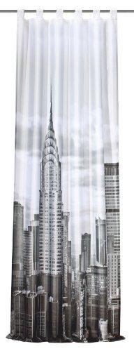 Home Fashion 48639-896 Schlaufenschal Digitaldruck New York, 225 x 120 cm, Dekostoff, schwarz/weiß