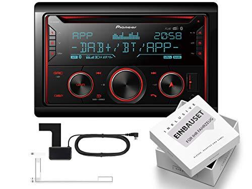 Pioneer FH-S820DAB 2-DIN Digital Auto Radio Bluetooth inkl DAB-Antenne passend für Dacia Lodgy ab 2012 Klavierlack schwarz