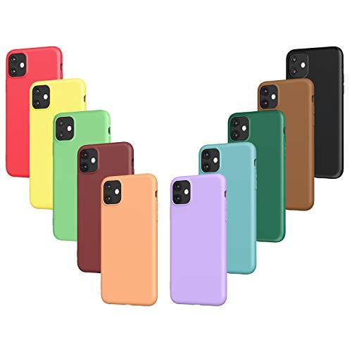 VGUARD 10 x Funda para iPhone 11 6.1 Pulgadas, Ultra Fina Carcasa Silicona TPU Protector Flexible Funda (Negro, Verde Oscuro, Verde Claro, Azul, Naranja, Rojo Vino, Rojo, Amarillo, Púrpura, Marrón)