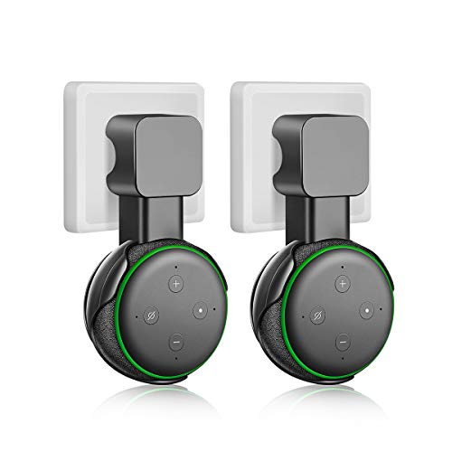 Outlet Wall Mount Compatible with Alexa Echo Dot 3RD Generation, Hanger Holder, Cord Arrangement, Best Space-Saving Solution, Hide Messy Cable, 2 Pack(Black)