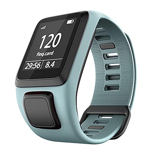 KINOEHOO Correas para relojes Compatible con TomTom Runner 2/Cardio + Music/Runner 3/Spark 3 Pulseras de repuesto.Correas para relojesde silicona.(Azul verdoso)