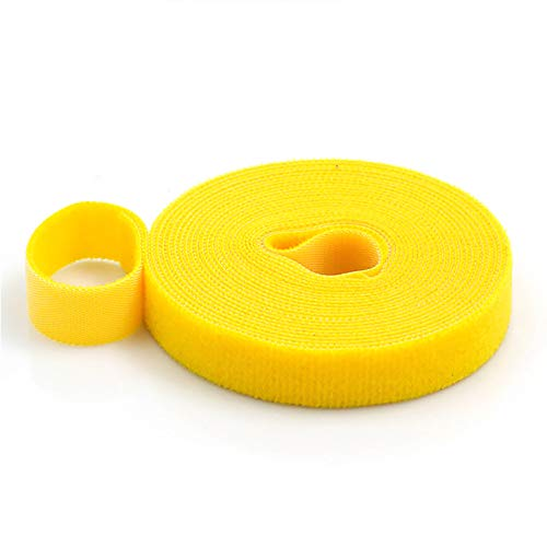 2 cm x 3 m Kabelbinder, selbstklebendes magisches Klebeband, Klettband, Einband-Kabelwickel für DIY Schließen und Kabel-Organizer (gelb)