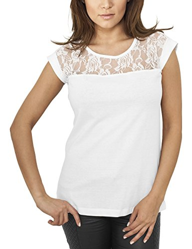 Urban Classics Damen T-Shirt Ladies Top Laces Tee, Weiß, M