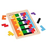 Ayanpale Wooden Blocks Puzzle Brain Teasers Toy Russian Tangram Colorful 3D Game Puzzles Intelligence STEM Educational Gift for Baby Toddlers Kid Boys Girls (40 Pcs), Non-Toxic