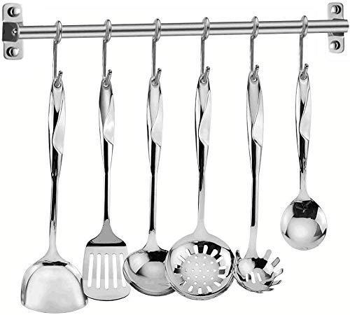 Elegant Life Utensilienset Küche Edelstahl Kochset 7 teilig Küchenhelfer Set - 6 Kochutensilien mit 6 Haken Rack Kochgeschirrset mit Spatel, Hitzebeständige Küchenutensilien Werkzeuge