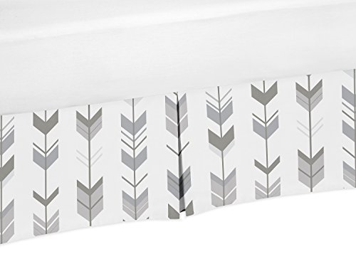 Grey and White Pleated Toddler Bed Skirt Dust Ruffle for Woodland Arrow Collection by Sweet Jojo Designs