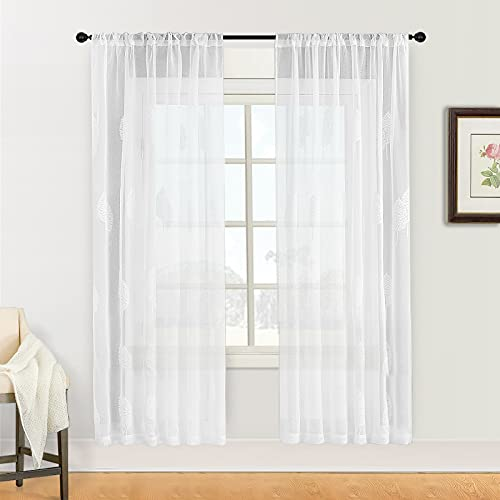 White Sheer Curtains 54x84 Inch Long Leaves Embroidered Sheer Curtain Panels Living Room Leaf Pattern Embroidery Sheers Bedroom Rod Pocket Window Treatment Set Drapes 2 Panels