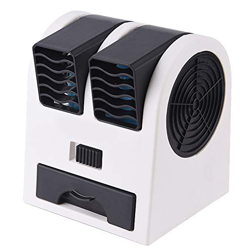 Leobtain Mini Ventilador Fresco Ventilador de Mesa Portátil Ventilador de Escritorio de Doble Cabezal Ventilador Personalizable de Rotación con Alimentación por USB para Casa Oficina Coche Viajar