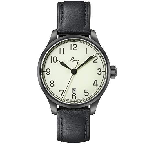 LACO Marineuhr Casablanca, Damen- u. Herren Armbanduhr, schwarzes Lederband, Saphirglas, Ø 39 mm, Miyota 821 A Automatik, inkl. Etui - 862115