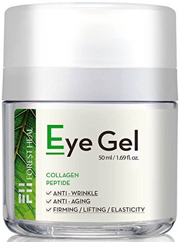 Natural Anti-Aging Eye Gel Cream with Collagen Peptides, Anti Wrinkle Moisturizer For Under and Around Eyes, Forest Heal 1.69 fl.oz.