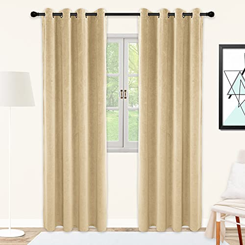 SNITIE Cream Yellow Velvet Curtains with Grommet, Super Soft Thermal Insualted Noise Reducing Light Filtering Velvet Curtain Drapes for Living Room and Bedroom, Set of 2 Panels, 52 x 96 Inch Long