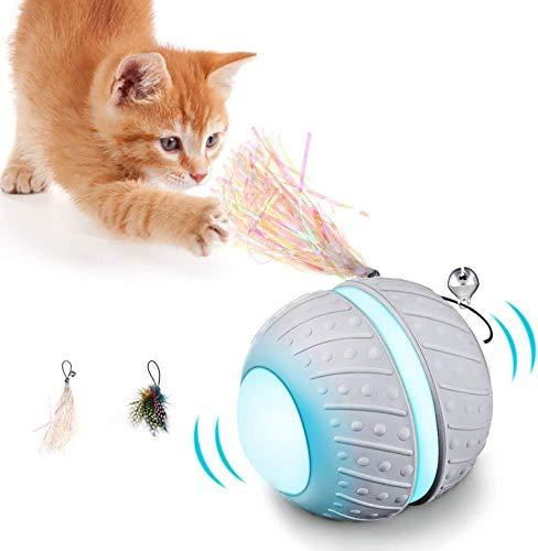 Interaktives Elektrischer Katzenspielzeug 360° ,Automatischer Katzenball mit LED-Lichtspielzeug über USB aufladbar ,Intelligenzspielzeug Haustierball für Kätzchen Trainingsaktivitäten