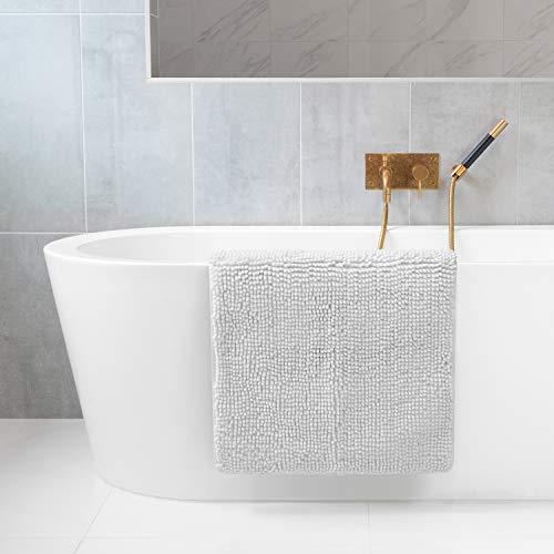 Tafts Ultra Soft Luxury Bath Mat, Bathroom Rugs, Chenille Microfiber, Absorbent Non-Slip Machine Washable, Bathroom Decor, Bath Mats for Bathroom, Shower & Tub, 21'x32', Cool White