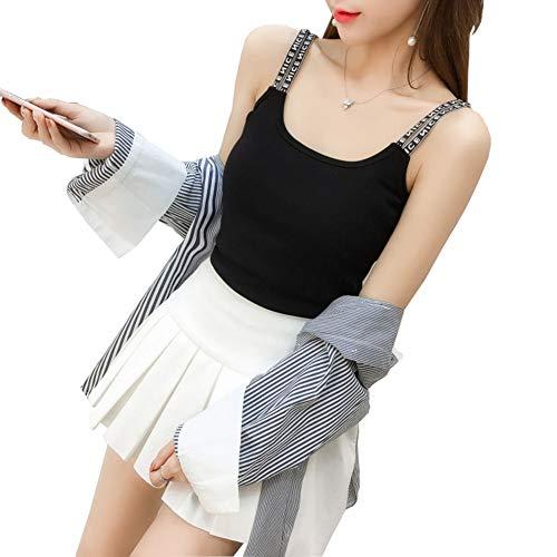 YongFeng Señoras del Verano Camisola de algodón de Color sólido Sexy Delgado sin Mangas de Moda pequeña Camiseta de Fondo Arriba JF (Color : Black, Size : XL)
