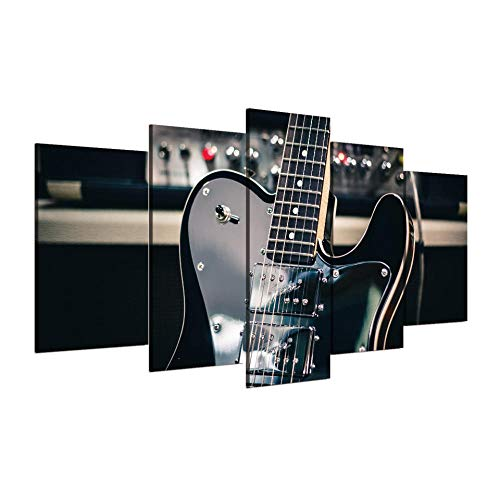 5 panelen huisdecoratie kunst aan de muur foto's posters zwarte gitaar muziekinstrument decoratie voor de woonkamer / 40x60 40x80 40x100cm geen frame