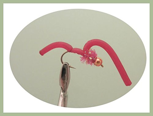 Squirmy Worm Fishing Flies 6 Pack Red Squirmy Gold Bead Size 10 Fly Fishing