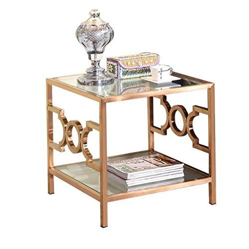 Sofa bijzettafel, Vierkant Eenvoudige Kleine Bijzettafel, RVS Woonkamer Bank Lezen Tafel, Gehard Glas Kantoorbed Koffie Tafel