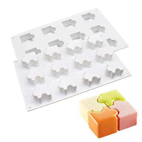 12Cavity Silicone Mold Jigsaw Puzzle Non Stick Dessert Pastry Mold Splice Cake Square Mousse Molds Cake For Baking Tools