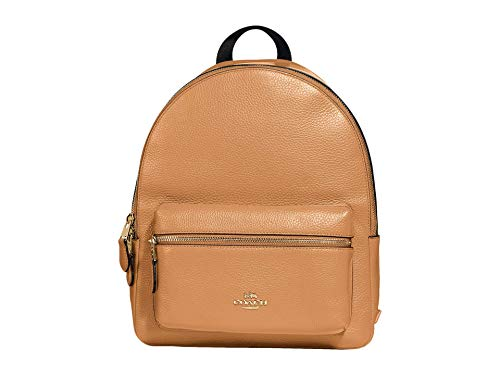 """Made of Pebble leather Inside zip pocket ,Zip closure, fabric lining Top handle with 2"""" drop Outside zip pocket; Adjustable shoulder straps 10 3/4"""" (L) x 12 1/2"""" (H) x 4"""" (W)"""