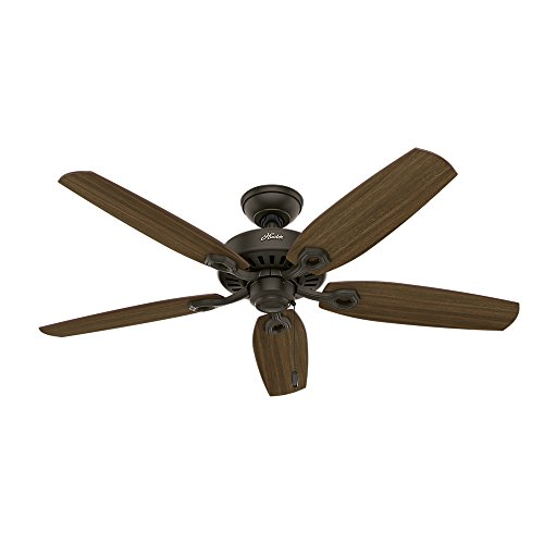 """Hunter Fan Company 53242 Builder Elite Modern 52 Inch Ultra Quiet Indoor Home Ceiling Fan with Pull Chain Control without Lights, 52"""", New Bronze finish"""