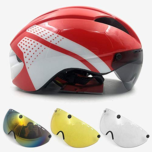 SFBBBO Bike Helmet Men's Cycling Helmet Men's and Women's Goggles Race Road Bike Helmet with Lens Bicycle M redwhite4lens