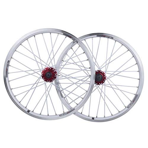 XCZZYC Juego de Ruedas de Bicicleta de 20 Pulgadas BMX 406 Disco de llanta/Freno en V Rueda de Bicicleta de liberación rápida 32 radios Cassette de Velocidad de 7/8/9/10 (Color: Blanco, Tamaño: 2