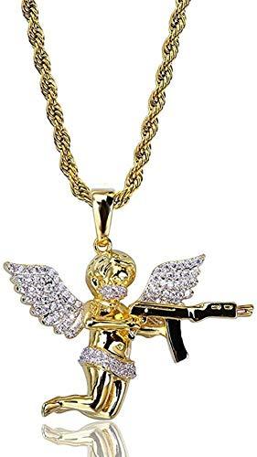 niuziyanfa Co.,ltd Hip Hop Cobre Chapado en Oro Iced out Micro PaveStone Alas de ángel con Colgante Completo Collar para Hombres Mujeres 60cm