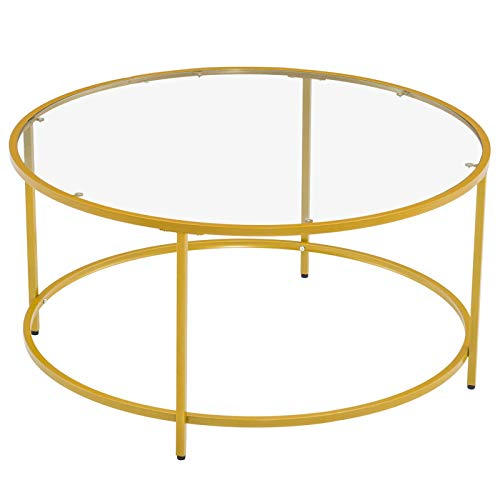 MAG.AL Simplicity Single-Layer Coffee Table, Round Frame Glass Surface Side Table 90 Round Gold End Table [90 x 90 x 45] cm, for Bedroom Apartments Office