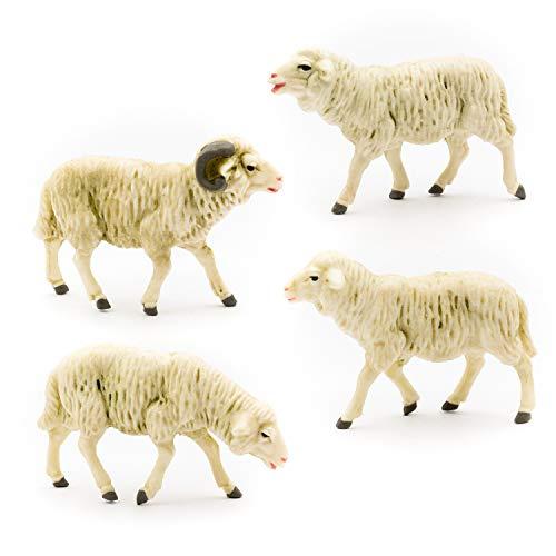 MAROLIN Schafgruppe, 4-teilig, zu 12cm Fig. (Kunststoff)