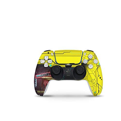 PS5 Controller Skin De 46 North Design, Misma Calidad Que Las Calcomanías De Coche, Cyberpunk Inspired Yellow Game Scifi, Alta Calidad, Duradera, Compatible Con PS5 W/Disk, Fabricado En Canadá