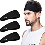 poshei Mens Headband, Mens Sweatband & Sports Headband for Running,Cycling, Yoga, Basketball - Stretchy Moisture Wicking Unisex Hairband