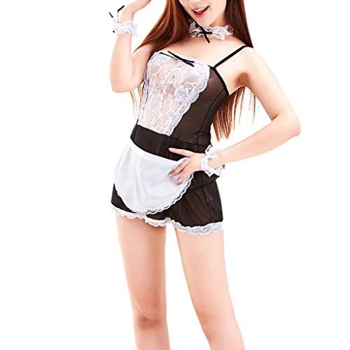 Fenverk 5Pc UnterwäSche Sexy Cosplay Rock Rollenspiel Party Uniform Dessous Damen Set Top Minirock BHS Babydoll NachtwäSche Neckholder Tiefer V-Ausschnitt SchulmäDchen Kleid(Schwarz 1,Einheitsgröße)