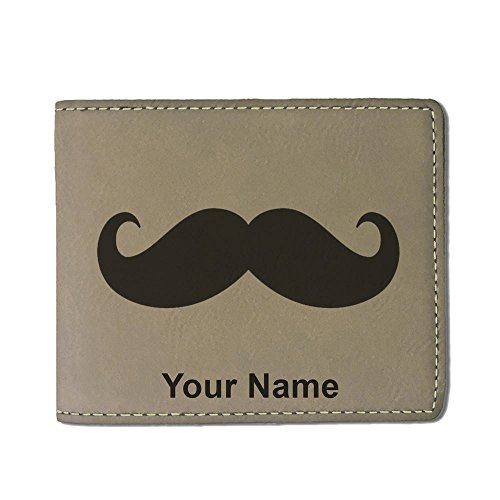 Faux Leather Wallet, Mustache, Personalized Engraving Included (Light Brown)