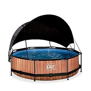 EXIT Piscina de madera (diámetro 300 x 76 cm, con toldo y bomba de filtro), color marrón