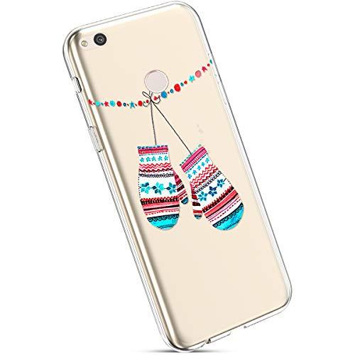 Ysimee Coque Huawei Nova Lite Noël, Étui Housse en Silicone Transparent avec Motif Christmas Ultra Léger et Mince Crystal Clear TPU Flexible Soft Touch Skin Coque pour Huawei Nova Lite,Gants