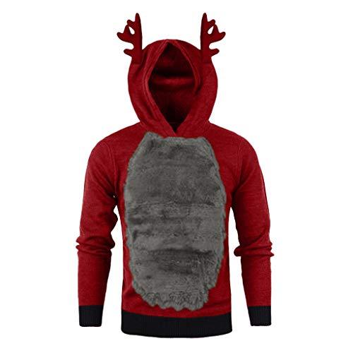 GreatestPAK Weihnachten Rentierhörner Kapuzenpullover Herren Hoodie Samt Sweatshirts Nähte Langarm Bluse Tops,Grau,2XL (Büste:116cm)